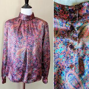 Vintage silky Eva Laurel colorful secretary blouse